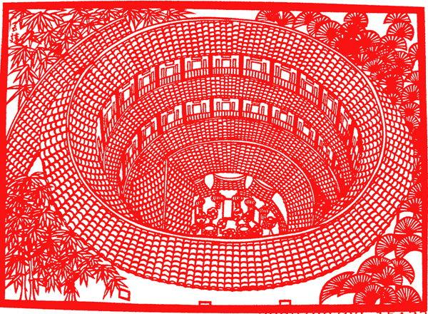 2008年6月剪纸作品《客家土楼》系列之二在2008第三届国际(北京)